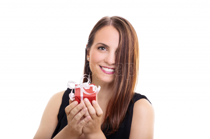 Beautiful woman with a wrapped gift