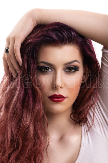 Beauty portrait of woman with smokey makeup