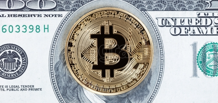 Bitcoin cyber single coin on paper currency background