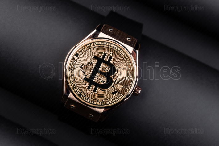 Bitcoin time concept on creative background