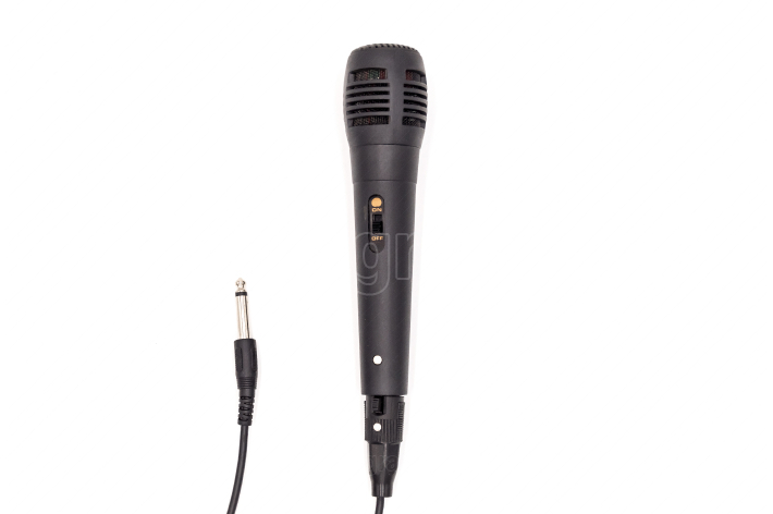Black karaoke microphone with its connection