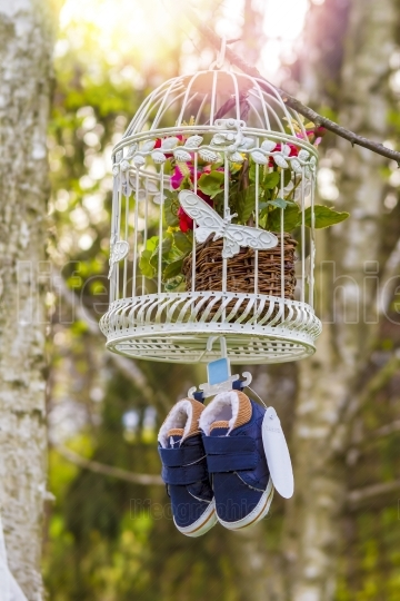 Blue baby shoes hanging from a cage