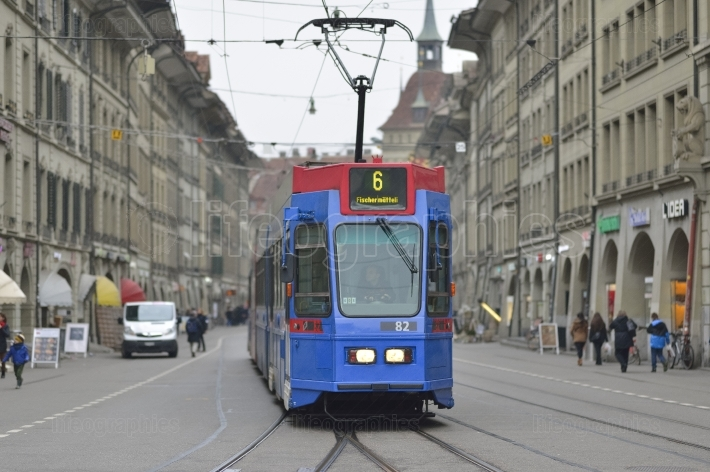 Blue tram in Bern