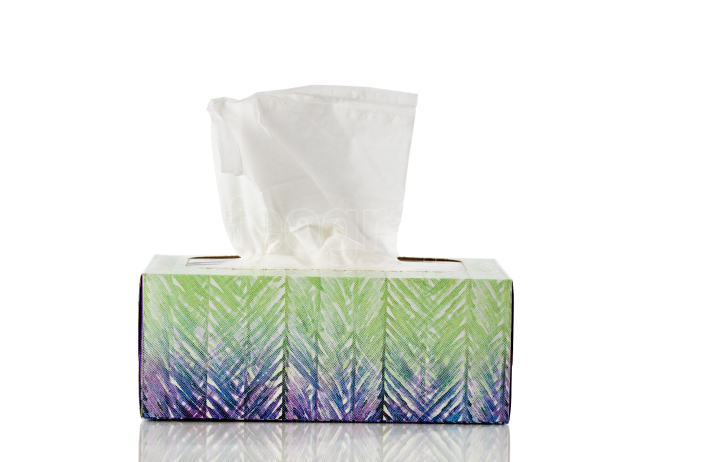 Box of tissues isolated on pure white background with reflection