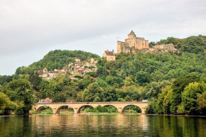 Bridge over dordogne and castelnaud castle