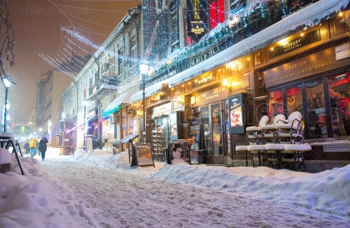 BUCHAREST, ROMANIA - JANUARY 06, 2017: Strong Blizzard Storm Covering In Snow The Downtown Of Bucharest City.