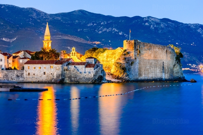 Budva, Montenegro - fortress at twilight