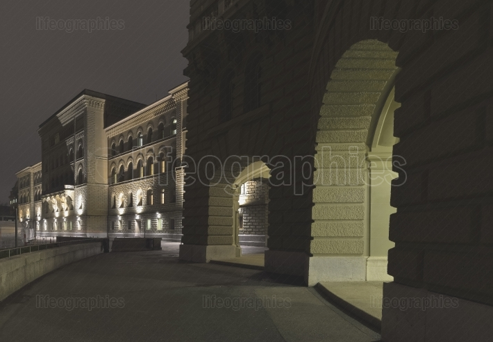 Bundeshaus (Federal Palace of Switzerland) by night - Switzerland