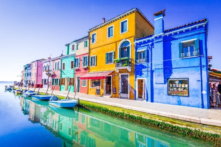 Burano, colorful water city in Venice, Italy