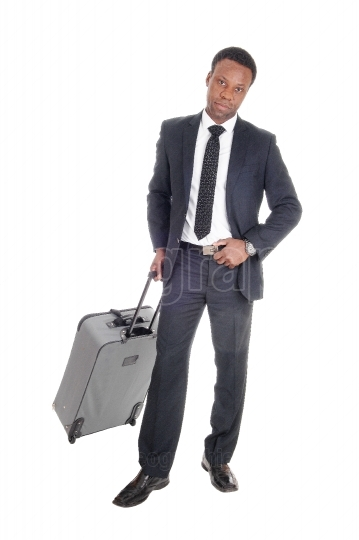 Business man in suit with suitcase