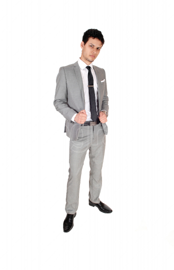 Business man standing relaxed is a gray suit