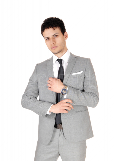 Business man standing relaxed is a gray suit halve length