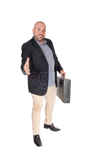Business man stretching his hand out to greed