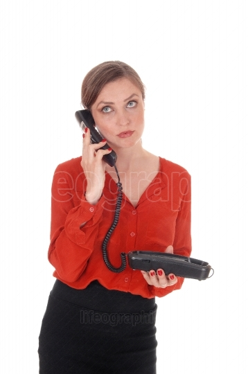Business woman holding her old phone