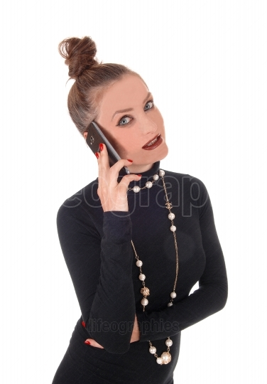 Business woman talking on cell phone
