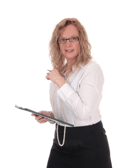 Business woman with glasses and clipboard.