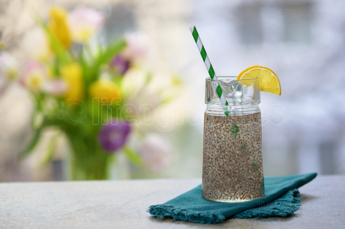 Chia seeds in glass