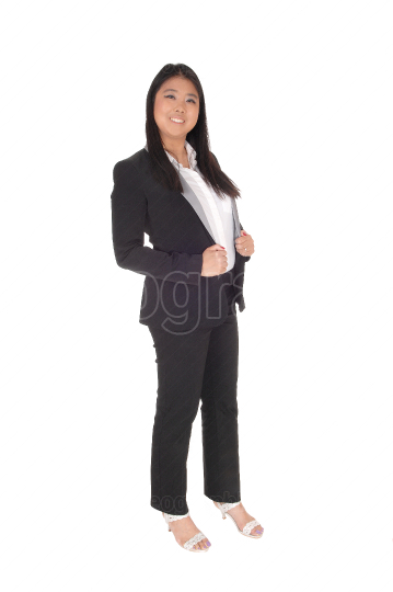 Chinese business woman standing in black suit