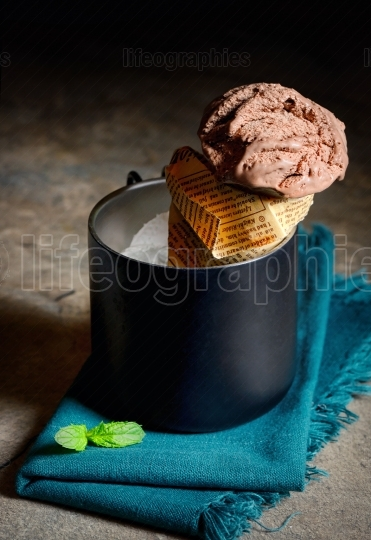 Chocolate Ice cream on stone table