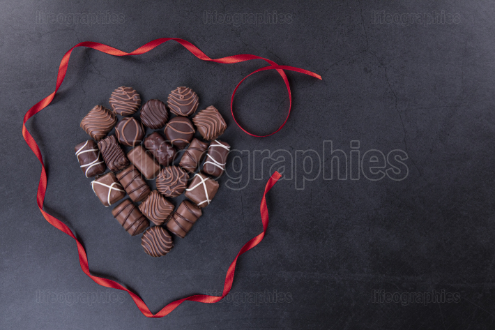 Chocolate pralines for Valentines day