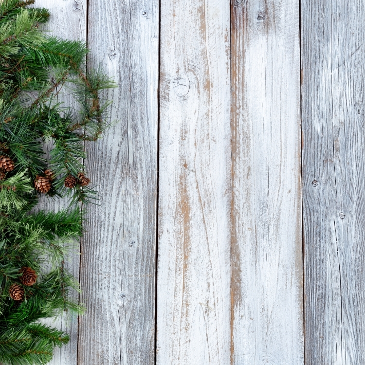 Christmas background with evergreen on white wood