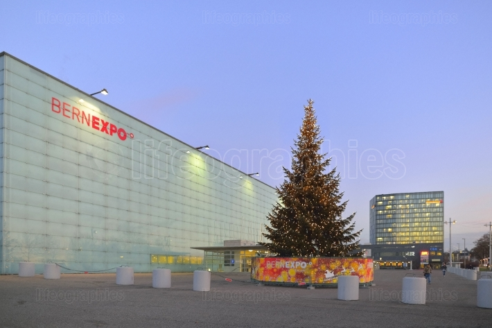Christmas tree in front of BernExpo building