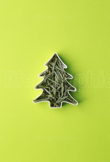 Christmas tree made of fir branches in the shape of a cake