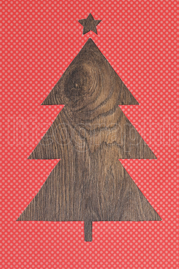 Christmas Tree Shape With Wooden Background