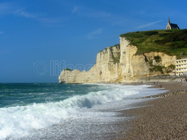 Cliffs and beach of Etretat