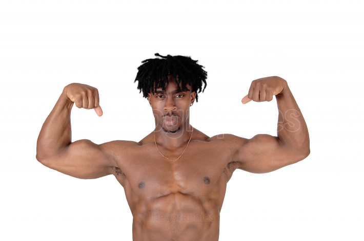 Close up image of a black man flexing his biceps
