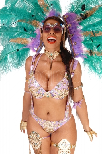 Close up image of carnival dancer woman laughing