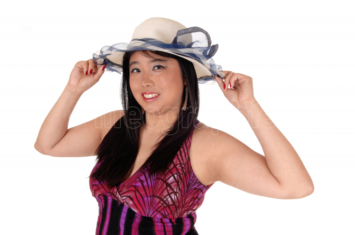 Close up image of Chinese woman with hat