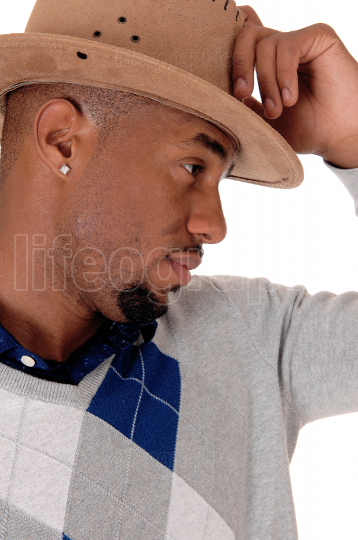 Close up image of handsome African man with  cowboy hat