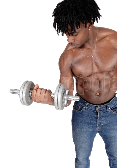 Close up of a black man working out with dumbbell