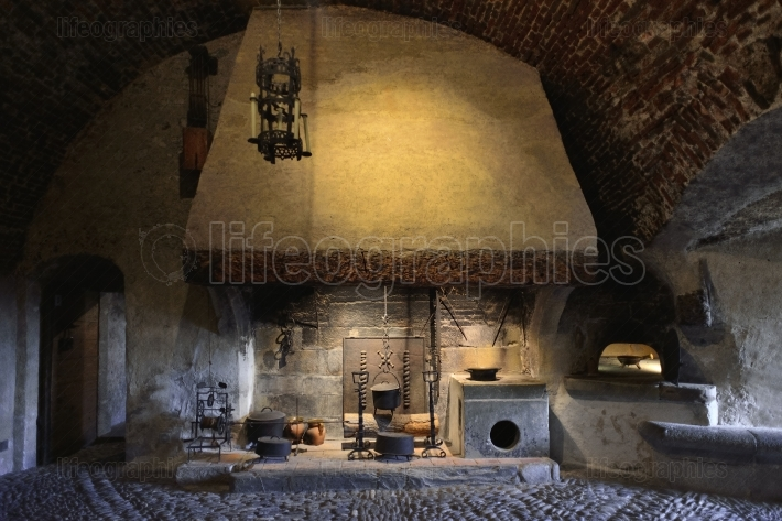 Close up of a kitchen interior from gruyeres castle