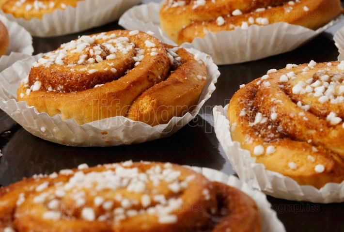 Close up of cinnamon buns