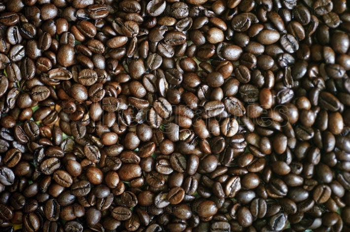Close up of Dark Coffee Beans from above