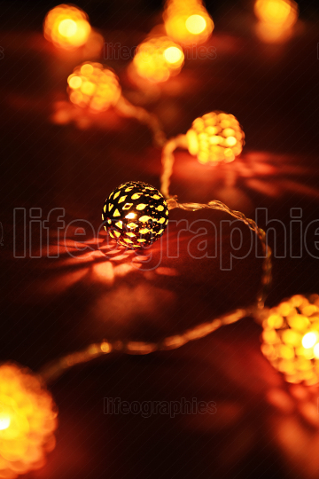 Close up of festive lights making cozy atmosphere