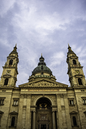 Close up of St  Stephen's Basilica in Budapest