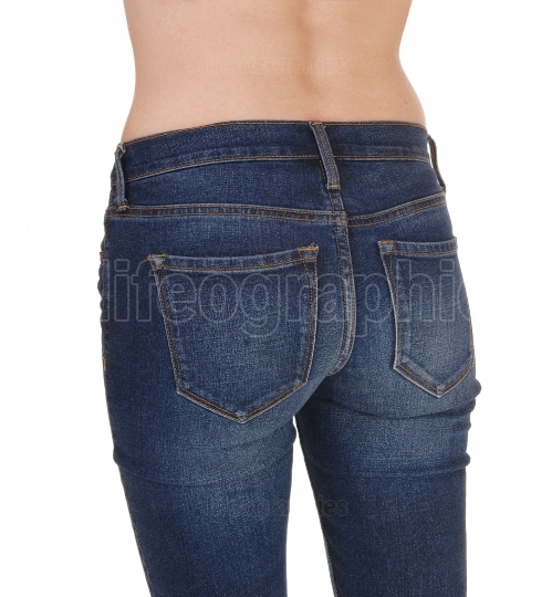 Close up of the butt of a woman in jeans