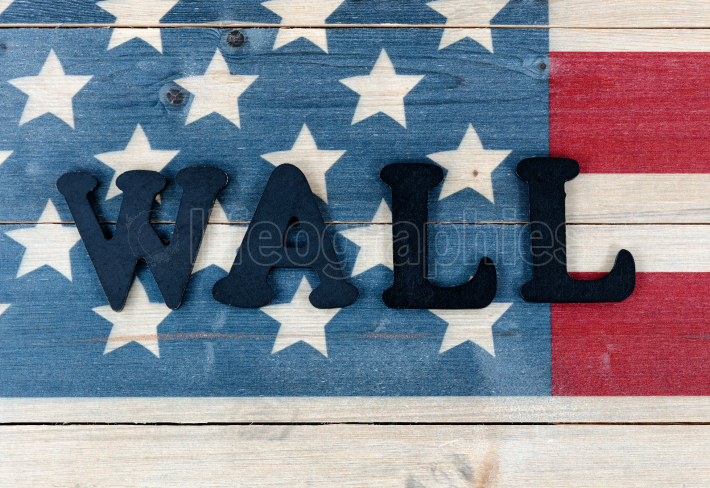 Close up of wall text letters on vintage wooden United States fl