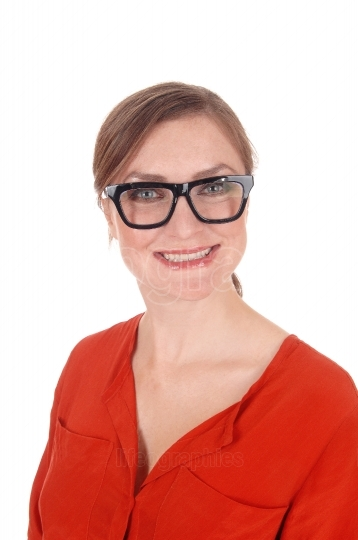 Closeup of smiling woman with glasses