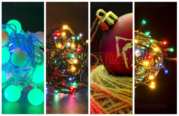 Collage of several photos with the theme Christmas holidays