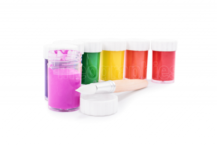 Color vials with a brush