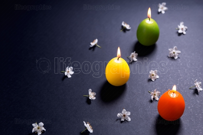 Colored candles in the shape of Easter egg with flowers on black