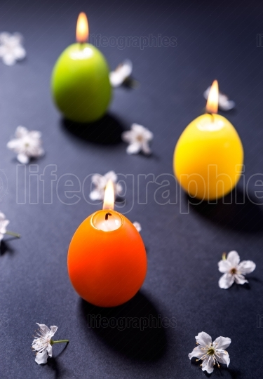 Colored wax candles in the shape of Easter egg with flowers