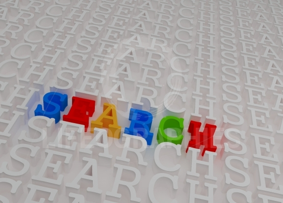 Colorful 3d search word inside white embossed 3d text