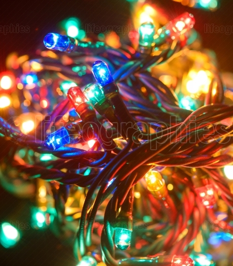Colorful christmas lights. Shiny leds