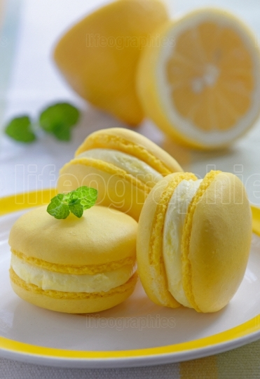 Colorful french macarons with lemon flavor