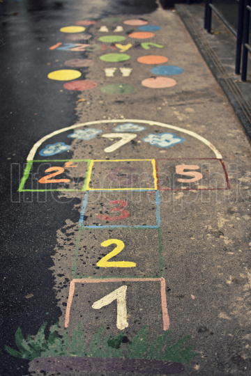 Colorful hopscotch game on the street